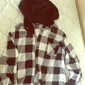 Light flannel button-up hoodie